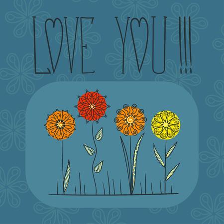abstract symbolism: Set of colorful cartoon flowers. mandala ornament Illustration