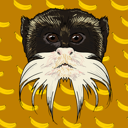 gazing: the bearded face of a monkey isolated on a yellow background with bananas Illustration