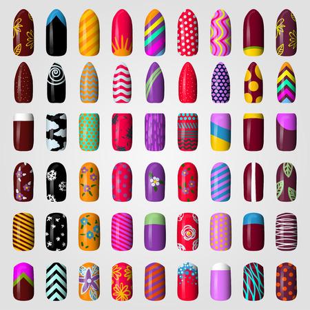 frances: un conjunto de uñas pintadas de colores. manicura. esmalte de uñas. Aislado en un fondo blanco