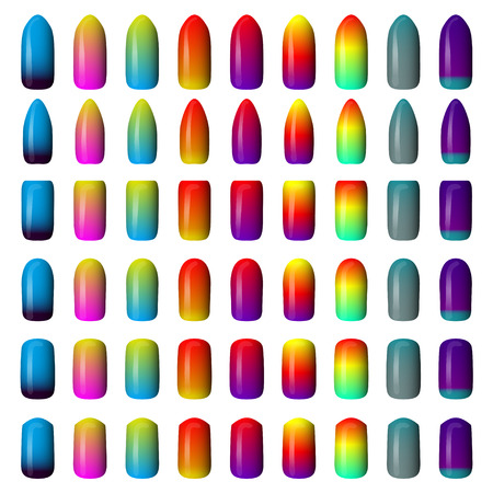 set of colored painted nails. manicure. nail polish. isolated on a white background Stock Vector - 45536804