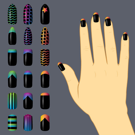 french manicure: set of colored painted nails. manicure. nail polish. isolated on a black background