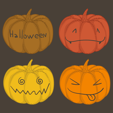 haunting: Set of colorful pumpkins with emotions on a black background. Halloween. Illustration