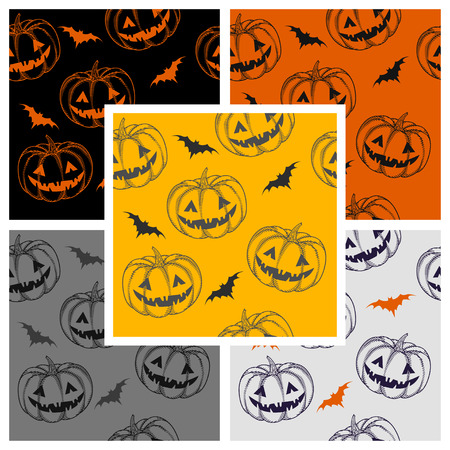 haunting: pumpkins for Halloween with a scary smile on colored backgrounds. seamless pattern