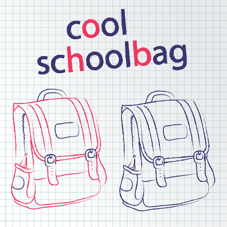 doodle two backpacks to school on paper background notebooks Иллюстрация