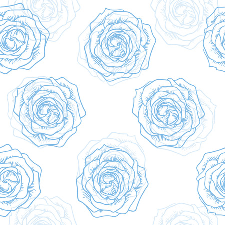 contour: Seamless graphic contour roses blue pattern on white