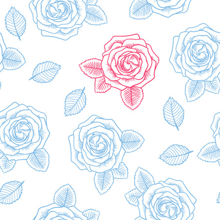contour: Seamless graphic contour roses blue and pink pattern on white
