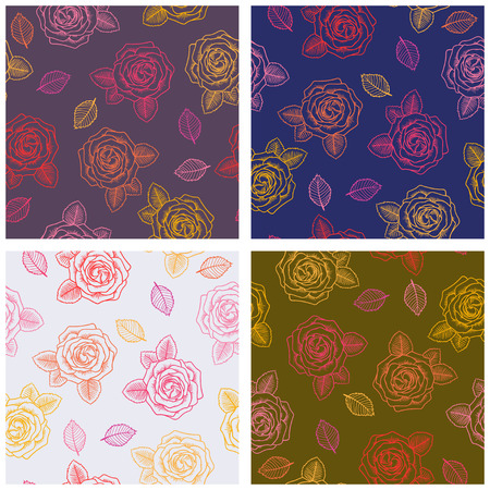 contour: Set of four seamless graphic contour roses  pattern Illustration