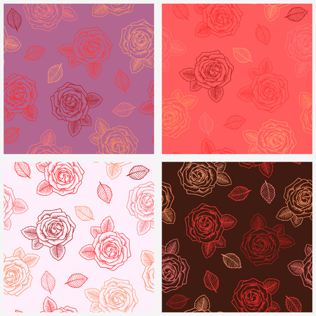 contour: Set of four seamless graphic contour red roses  pattern