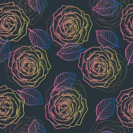 contour: Seamless graphic contour roses pink pattern on gray