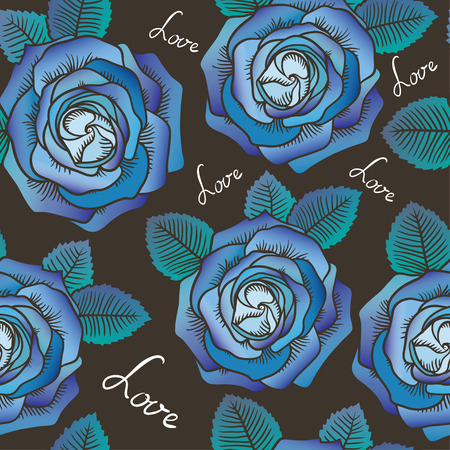 contour: Seamless graphic contour roses blue pattern on brown