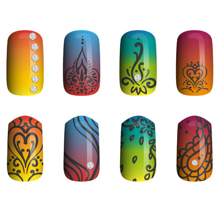 fingernail: set of colored painted nails. manicure. nail polish. isolated on a white background Illustration