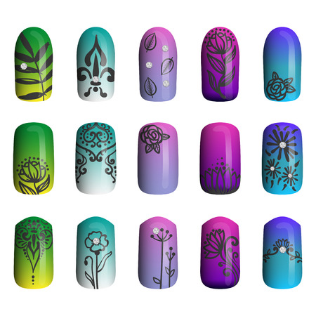 french manicure: set of colored painted nails. manicure. nail polish. isolated on a white background Illustration
