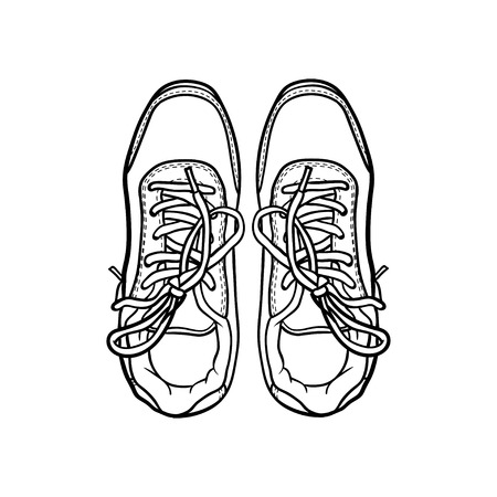 sneaker: contour shoes. cartoon sneaker isolated on white Illustration