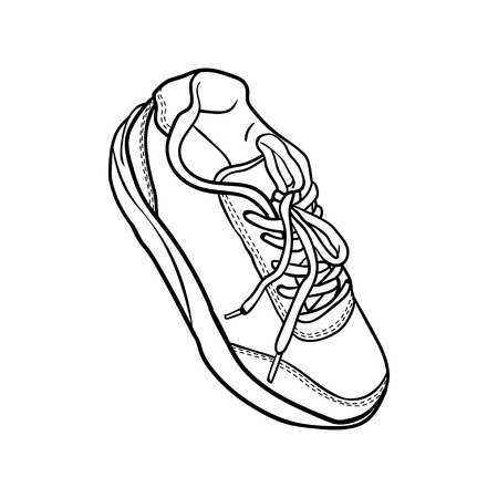 shoelaces: contour shoes. cartoon sneaker isolated on white Illustration