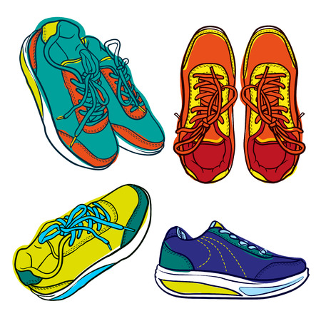 shoes cartoon: Set of bright contour shoes. cartoon sneaker isolated on white Illustration