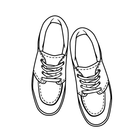 shoes cartoon: contour shoes. cartoon sneaker isolated on white Illustration