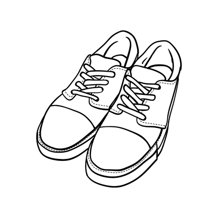 contour shoes. cartoon sneaker isolated on white