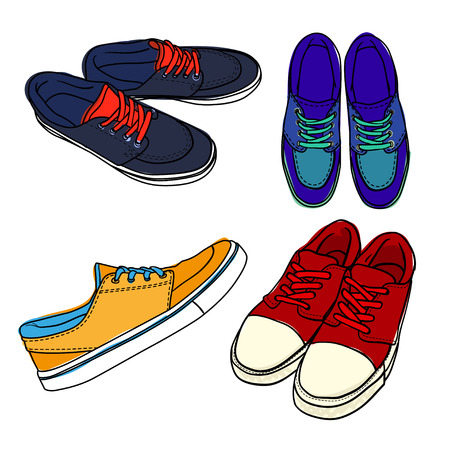 Set of bright contour shoes. cartoon sneaker isolated on white