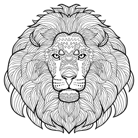Animal outline drawing. Anti-stress coloring  in the head of a lion.