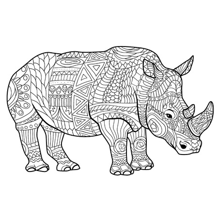 adults: Rhinoceros coloring book for adults vector illustration