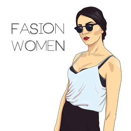 fashionable girl: Fashionable girl model in glasses and a white T-shirt. hand drawn illustration. Illustration