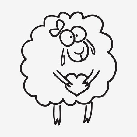 isoleted: cute sketch doodle sheep with heart and bow isoleted on white background. Illustration