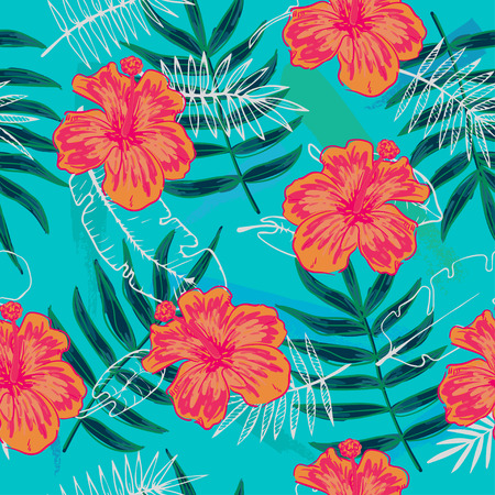 Summer colorful hawaiian seamless pattern with tropical plants and hibiscus flowers Illustration