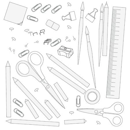 white bacground: contour objects stationery, isolated on white bacground Illustration