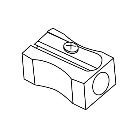 contorno de objetos sacapuntas, lápiz isoleted en blanco
