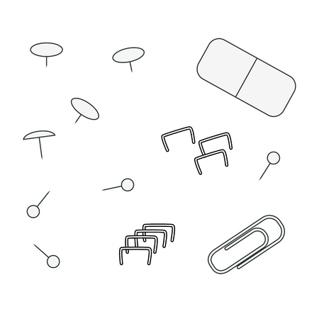 objets contour de papeterie, trombones, agrafes, gomme, broche isoleted en blanc