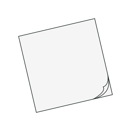 contour objects office supplies, paper for notes isoleted on white