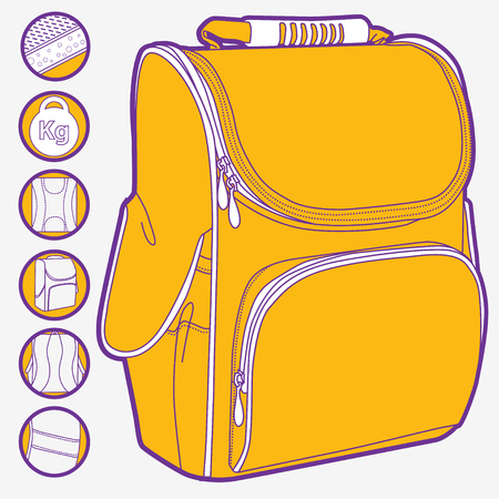 back pocket: Childrens backpack loop with icons of parts isoleted on white