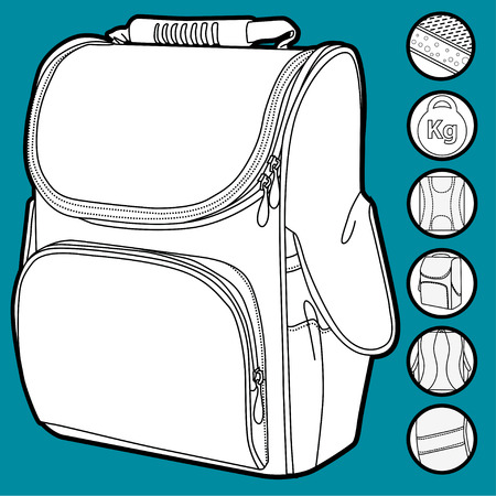 isoleted: Childrens backpack loop with icons of parts isoleted on white