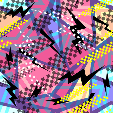 scuffed: Abstract seamless chaotic pattern with urban geometric elements, scuffed, drops, sprays, triangles. Grunge neon texture background. Wallpaper for boys and girls