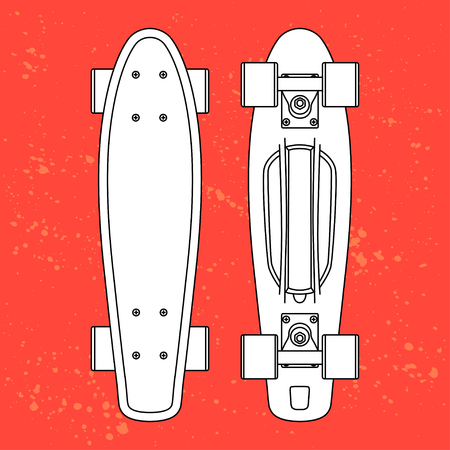 penny: white contour cartoon penny board, for boy and girl, on urbanBlob doted background