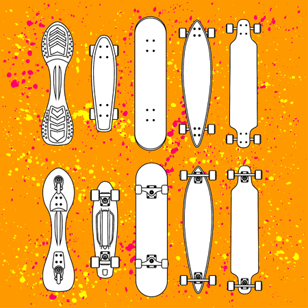 penny: contour cartoon penny board, for boy and girl, on Blob doted background.