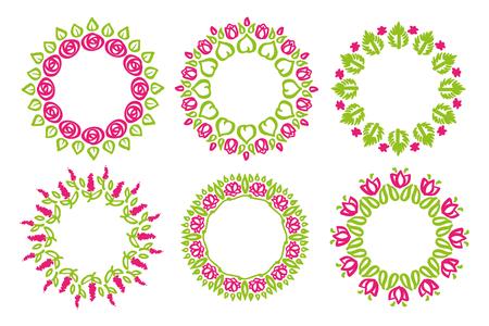 marcos redondos: Ilustración para las decoraciones. Marco de la flor floral de la naturaleza del doodle.
