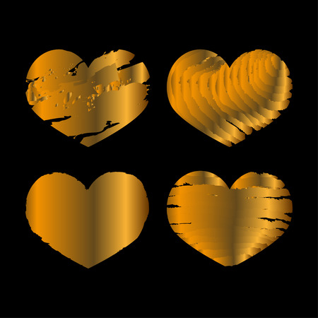 gold heart: Set of gold heart on black bacground.