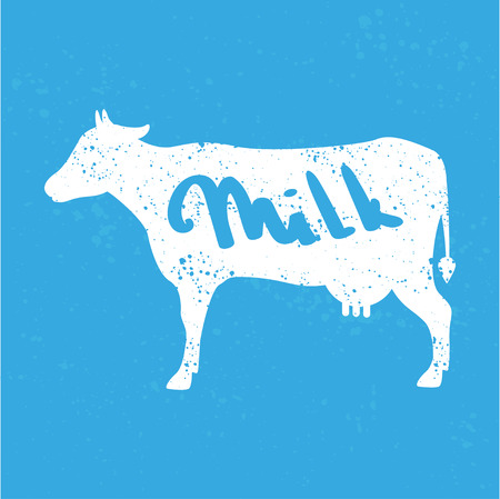 Cow silhouette with text milk on blue background