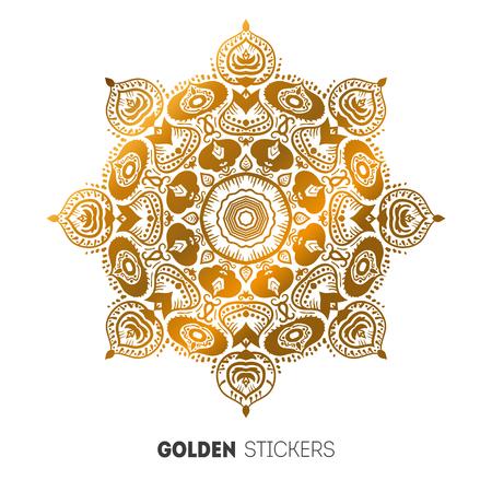 mhendi: Vector illustration of golden mehndi mandala pattern stickers, flash temporary tattoo.