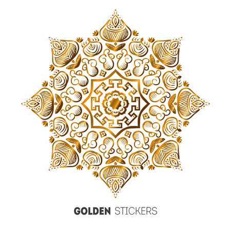 on temporary: Vector illustration of golden mehndi mandala pattern stickers, flash temporary tattoo.