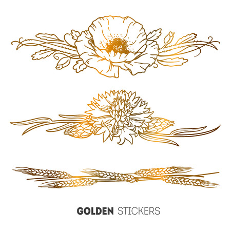 cornflower: Vector illustration of golden Bracelet flowers poppy, cornflower and wheat stickers, flash temporary tattoo.