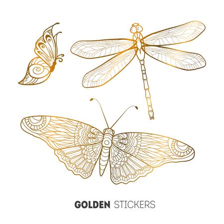 Vector illustration of golden butterfly stickers, flash temporary tattoo. Illustration