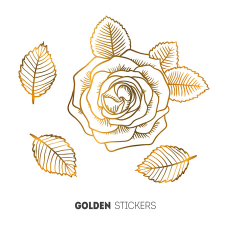rose tattoo: Vector illustration of golden flower rose stickers, flash temporary tattoo.