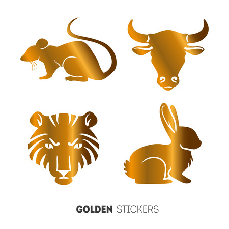 Vector illustration of golden Animal horoscope year stickers, flash temporary tattoo.