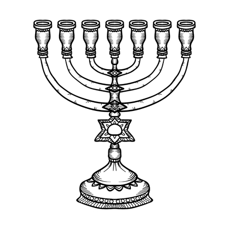 candelabrum: Jewish religious symbol menorah isolated on white background. Illustration