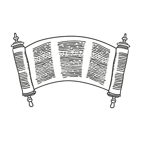 manuscript: Vintage Roll of antique blank manuscript over white. Ancient scroll of the Law. contour doodle style Illustration