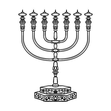 Jewish religious symbol menorah isolated on white background. Illustration