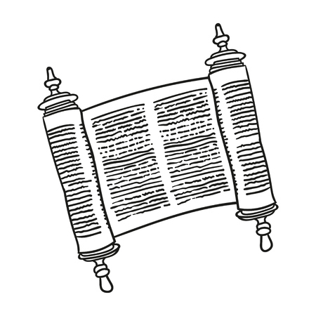 scroll of the law: Vintage Roll of antique blank manuscript over white. Ancient scroll of the Law. contour doodle style Illustration