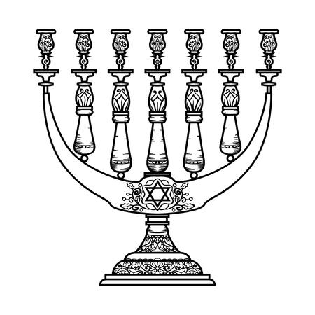 judaic: Jewish religious symbol menorah isolated on white background. Illustration